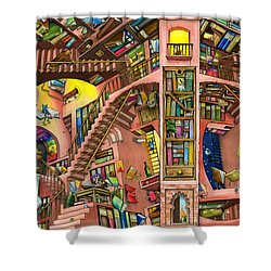 Library Shower Curtain by Colin Thompson