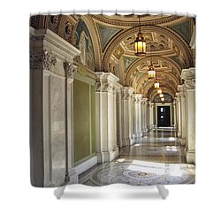 Library Of Congress Hallway Washington Dc Shower Curtain by Mary Lee Dereske