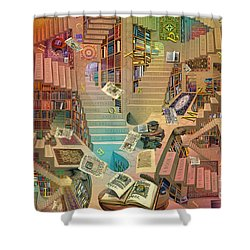 Library Of The Mind Art Shower Curtain by Garry Walton
