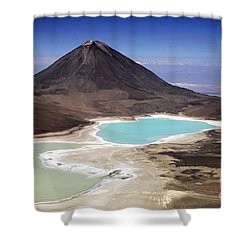 Licancabur Volcano And Laguna Verde Shower Curtain by James Brunker