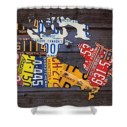 License Plate Map Of Canada Shower Curtain