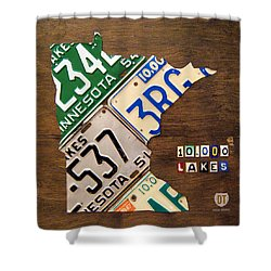 License Plate Map Of Minnesota By Design Turnpike Shower Curtain by Design Turnpike