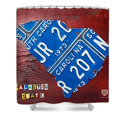 License Plate Map Of South Carolina By Design Turnpike Shower Curtain by Design Turnpike
