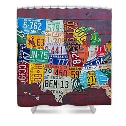 License Plate Map Of The United States Shower Curtain by Design Turnpike