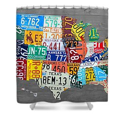License Plate Map Of The United States On Gray Wood Boards Shower Curtain by Design Turnpike