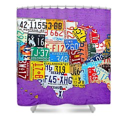 License Plate Map Of The United States On Vibrant Purple Slab Shower Curtain by Design Turnpike