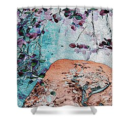 Lichen And Leaves Shower Curtain