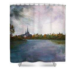 Lichfield Catherdral A View From Stowe Pool Shower Curtain by Jean Walker