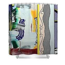 Lichtenstein's Painting With Statue Of Liberty Shower Curtain by Cora Wandel