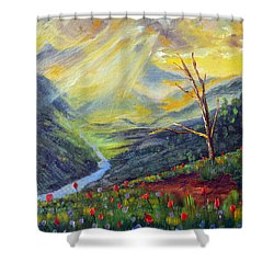 Shower Curtain featuring the painting Life Force by Meaghan Troup