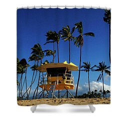 Life Guard Station Shower Curtain by Bob Christopher