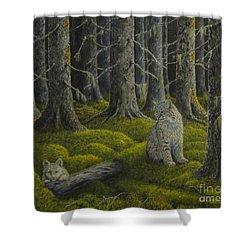 Life In The Woodland Shower Curtain by Veikko Suikkanen