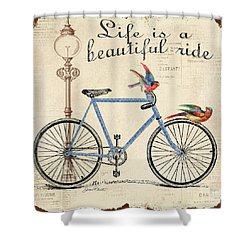 Life Is A Beautiful Ride Shower Curtain by Jean Plout