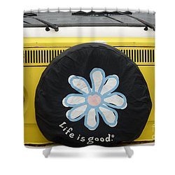 Life Is Good With Vw Shower Curtain by Wendy Wilton
