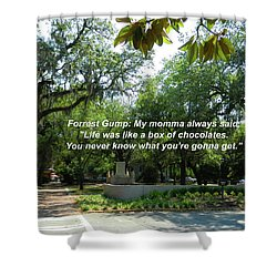 Life Is Like A Box Of Chocolates Shower Curtain by Paul Mashburn