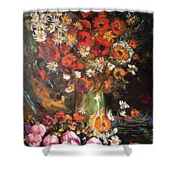Shower Curtain featuring the painting Life Is Like A Vase Of Flowers by Belinda Low