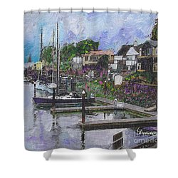 Alameda Life On The Estuary Shower Curtain by Linda Weinstock