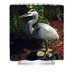 Life Size Great Blue Heron Wildlife Art Sculpture Shower Curtain by Chris Dixon