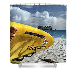 Lifeguard Surfboard Shower Curtain by Joseph S Giacalone