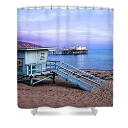 Lifeguard Tower And Malibu Beach Pier Seascape Fine Art Photograph Print Shower Curtain