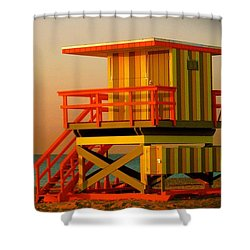 Lifeguard Tower In Miami Beach Shower Curtain by Monique Wegmueller