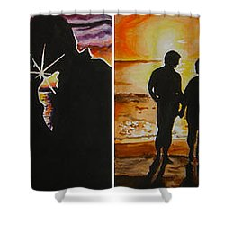 Shower Curtain featuring the painting Life's A Beach by Tamir Barkan