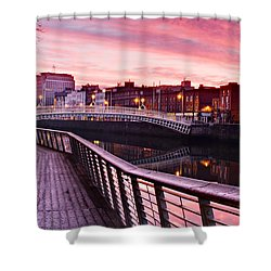 Shower Curtain featuring the photograph Liffey Boardwalk At Dawn - Dublin by Barry O Carroll