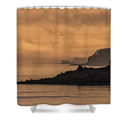 Shower Curtain featuring the photograph Lifting Fog At Sunrise On Campobello Coastline by Marty Saccone