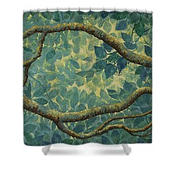 Light And Leaves Shower Curtain by Vrindavan Das