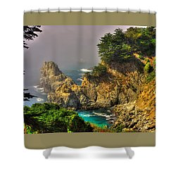 Light And Mist Along The Monterey Peninsula - No. 1 Spring Mid-afternoon Shower Curtain by Michael Mazaika