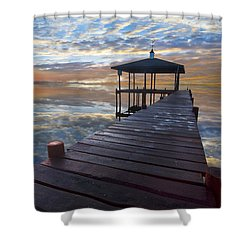 Light At The Lake Shower Curtain by Debra and Dave Vanderlaan