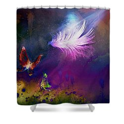 Shower Curtain featuring the painting Light Feather by Lilia D