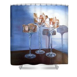 Shower Curtain featuring the painting Light Glass And Shells by LaVonne Hand