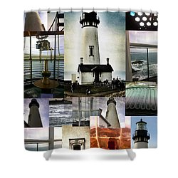 Light House Collage Shower Curtain by Susan Garren