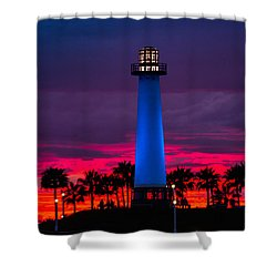 Light House In The Firey Sky Shower Curtain by Denise Dube