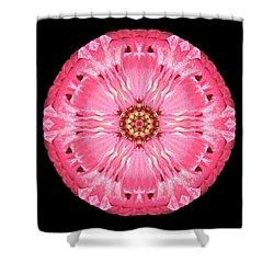 Shower Curtain featuring the photograph Light Red Zinnia Elegans Flower Mandala by David J Bookbinder