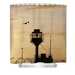 Light Ship Silhouette At Sunset Shower Curtain