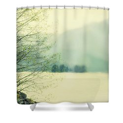 Light Streams Over A Mountain Shower Curtain by Roberta Murray