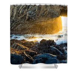 Light The Way - Arch Rock In Pfeiffer Beach In Big Sur. Shower Curtain by Jamie Pham