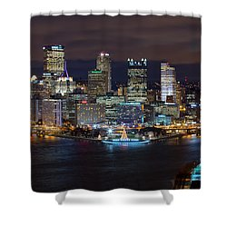 Shower Curtain featuring the photograph Light Up Night Pittsburgh 3 by Emmanuel Panagiotakis