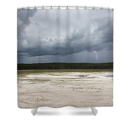 Shower Curtain featuring the photograph Lightening At Yellowstone by Belinda Greb