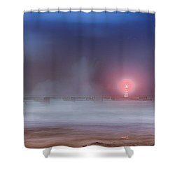 Lighthouse And Big Waves Shower Curtain