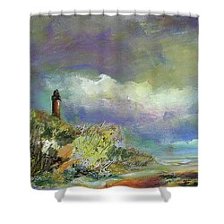 Lighthouse And Fisherman Shower Curtain