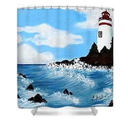 Lighthouse And Sunkers Shower Curtain by Barbara Griffin