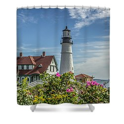 Shower Curtain featuring the photograph Lighthouse And Wild Roses by Jane Luxton