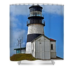 Lighthouse At Cape Disappointment Washington Shower Curtain by Valerie Garner