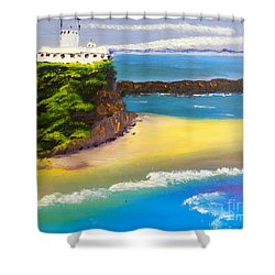 Shower Curtain featuring the painting Lighthouse At Nobbys Beach Newcastle Australia by Pamela  Meredith