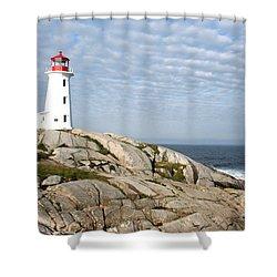 Lighthouse At Peggys Point Nova Scotia Shower Curtain