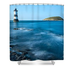 Lighthouse At Penmon Point Shower Curtain by Adrian Evans