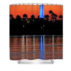 Lighthouse At Queensway Bay Shower Curtain by Mariola Bitner